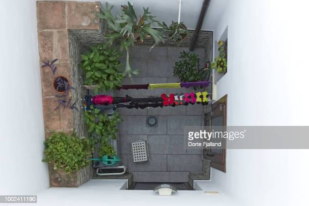 Looking down into a tiny patio with green plants and laundry