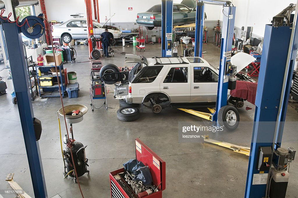 Looking Down into Auto Repair Garage : Stock Photo