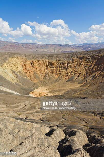 Looking down into Ubehebe crater, a Maar volcano, caused by groundwater contacting hot magma or lava, Death Valley National Park, California, United States of America, North America