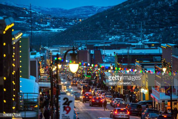 looking down main street park city blue hour - park city utah stock pictures, royalty-free photos & images