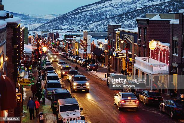 looking down main street park city - park city utah stock pictures, royalty-free photos & images