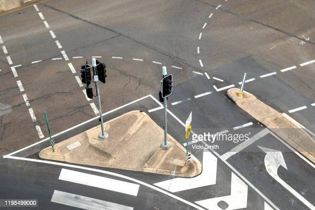 looking down on a road intersection - taking a corner stock pictures, royalty-free photos & images