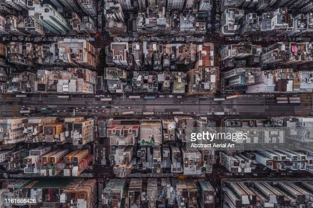 looking down on a section of sham shui po, kowloon, hong kong - kowloon peninsula stock pictures, royalty-free photos & images