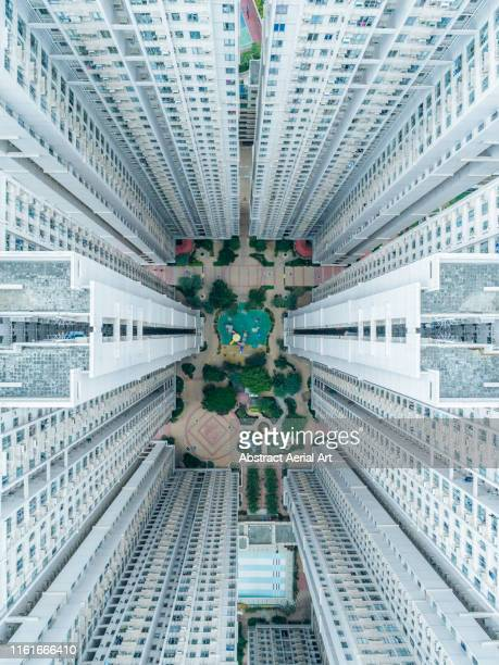 looking down on building complex, tseung kwan o, kowloon, hong kong - kowloon stock pictures, royalty-free photos & images