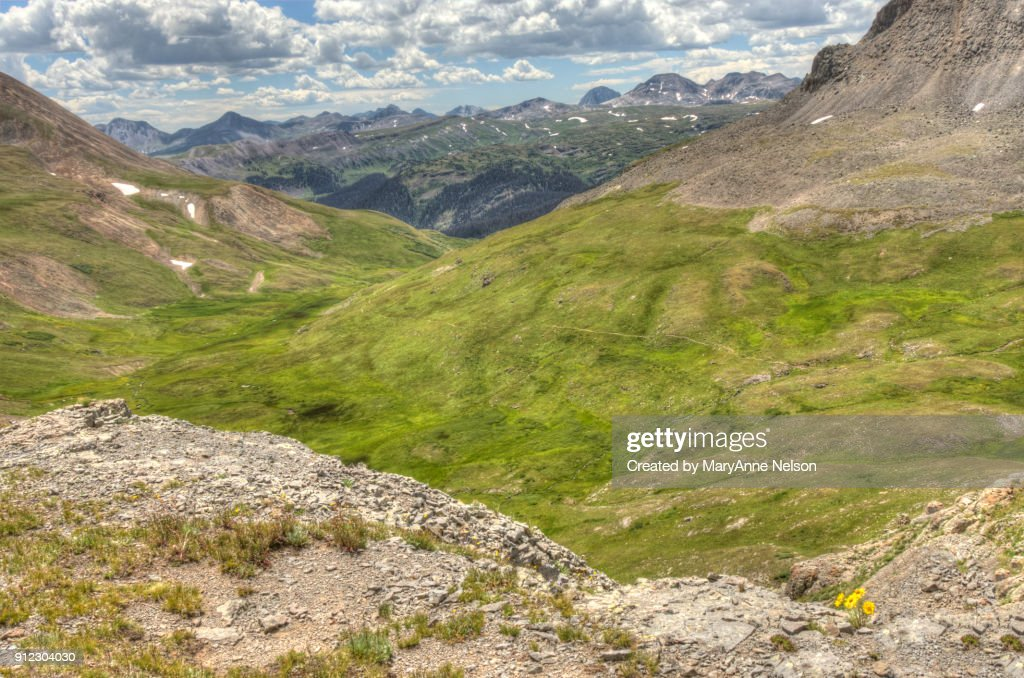 Looking Down on Continental Divide Trail and Mountains : Stock Photo