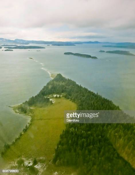 Looking Down on Gulf Islands from Plane Window