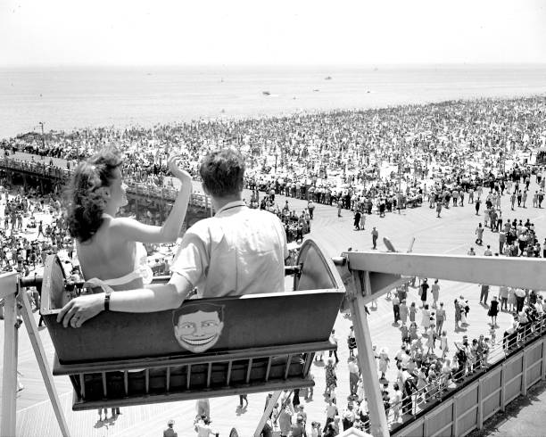 Looking down on part of the record crowd at Coney Island fro