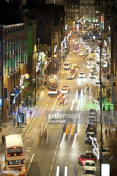 Looking down on Portland Street in Manchester