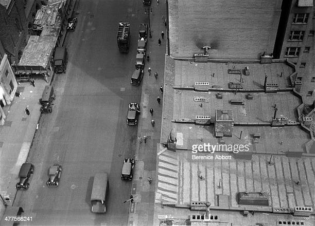 Looking down on rooftops West 57th Street Between Sixth and Seventh Avenue New York City New York circa 1930