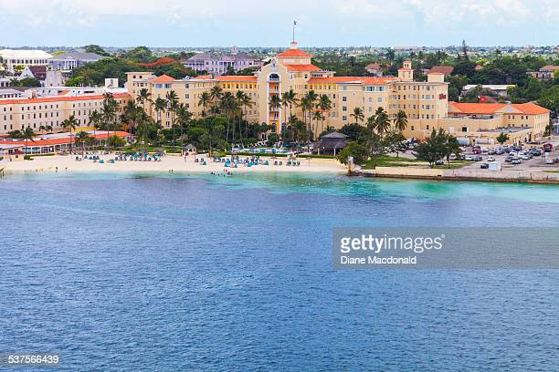 Looking down on the British Colonial Hilton Hotel Nassau New Providence Bahamas from the deck of a cruise ship
