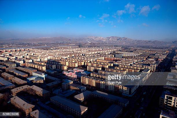 Looking down on the city of Baotou, Inner Mongolia, China. Baotou is an excellent example of a one-industry town, and that industry is steel. Baotou...
