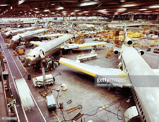 Looking down on the final assembly line at the Boeing Plant in Renton Washington The planes are the 727 passenger transports one of Boeing's most...