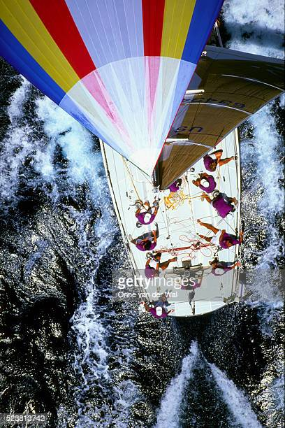 looking down on the marda gras racing yacht - gras stock pictures, royalty-free photos & images