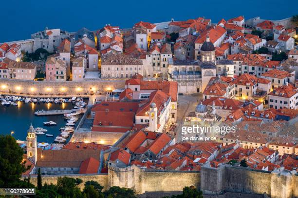 looking down on the old town, dubrovnik, croatia - old town stock pictures, royalty-free photos & images