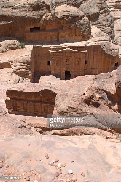 Looking down on the Roman Soldiers Tomb from Jebel Madhbah Petra Jordan