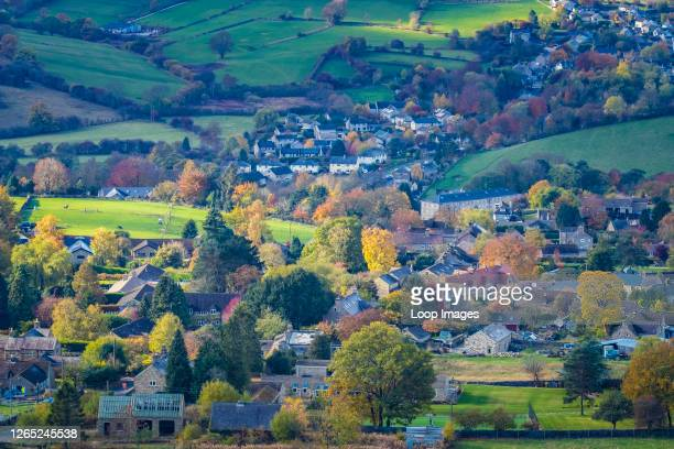 Looking down on the village of Calver from Curbar Edge.