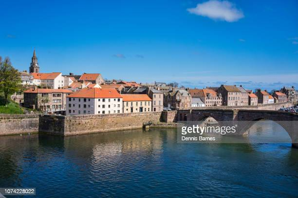looking down river tweed to berwick old bridge, berwick upon tweed, north northumberland, england - northeastern england stock photos and pictures