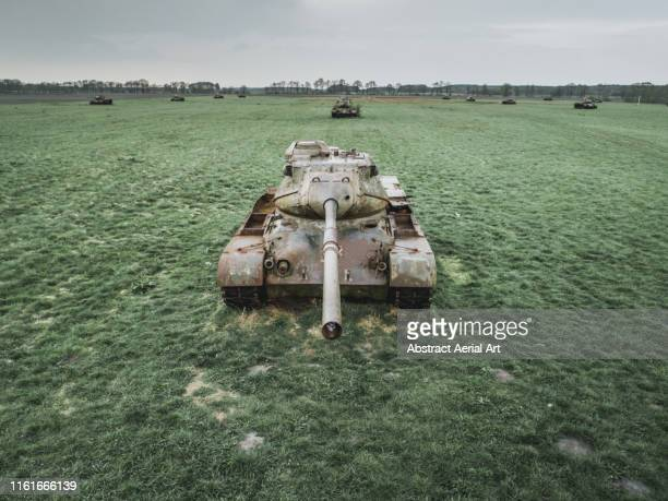 looking down the barrel of an abandoned tank, germany - tank stock pictures, royalty-free photos & images