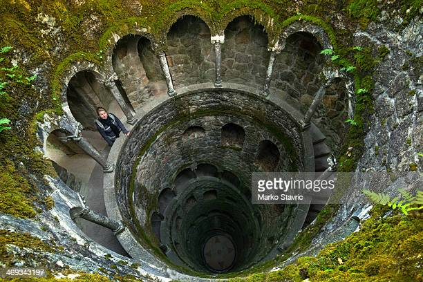 CONTENT] Looking down the Initiation Well at Quinta da Regaleira a UNESCO World Heritage Site near the town of Sintra