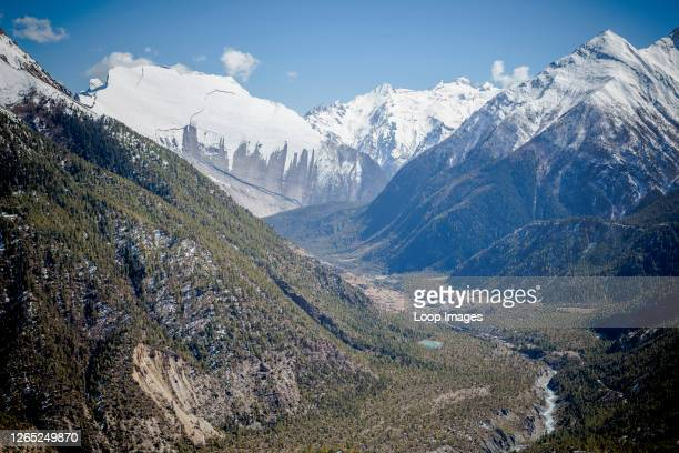 Looking down the valley towards Annapurna and Paungda Danda also known as heavens gate.