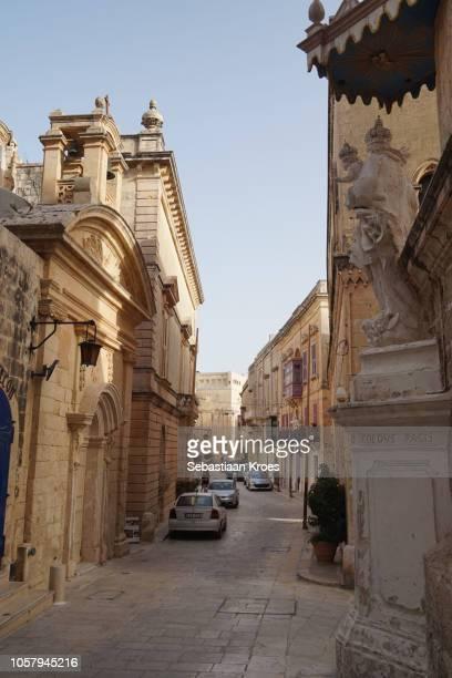 Looking down Villegaignon Street at dusk, Mdina, Malta