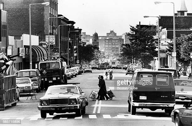 Looking down West Broadway from Perkins Square in South Boston on Sept 17 1985