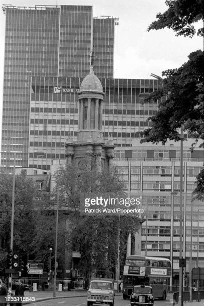 Looking east along Edgeware Road, including St Pancras Church and tower blocks, in central London, circa July 1969. From a series of images to...
