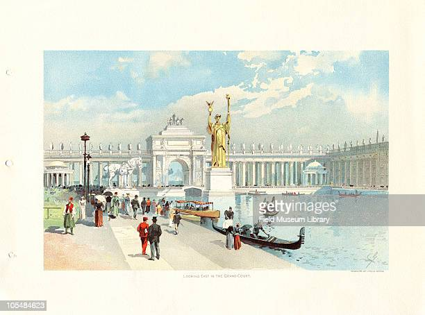 Looking East in the Grand Court Color lithograph by C Graham from The Chicago Tribune Art Supplements Chicago Illinois June 1 1893
