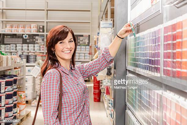 Looking for a new color in a hardware store
