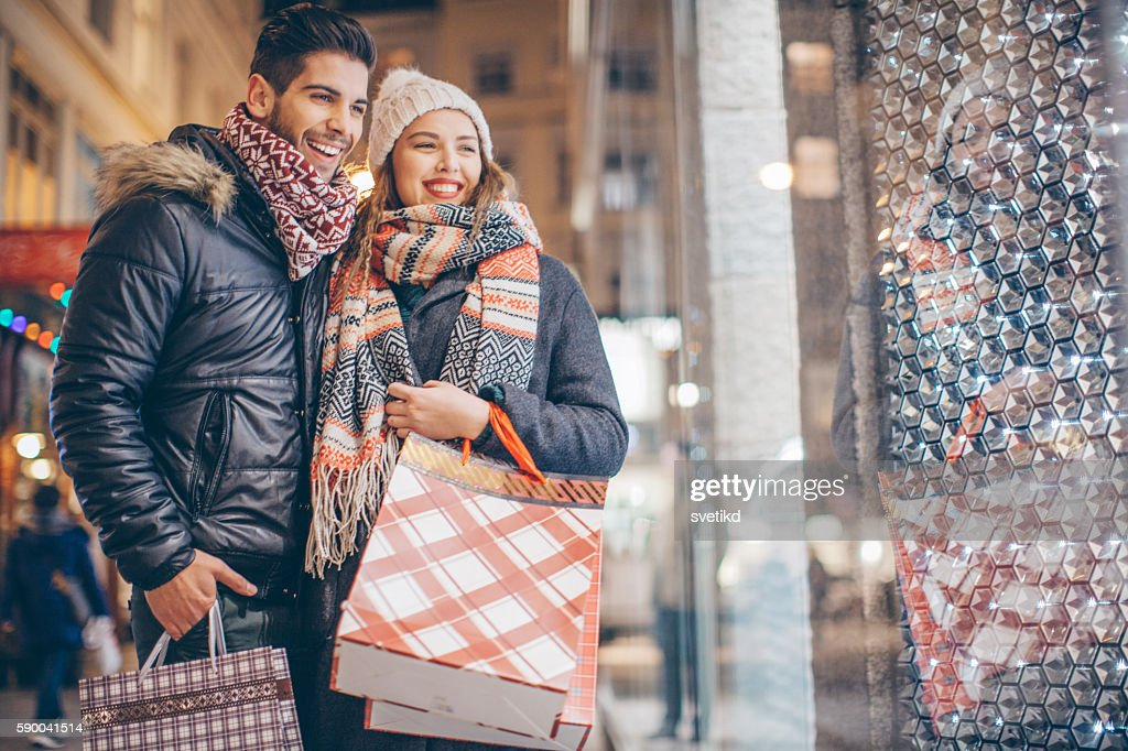 Looking for Christmas gifts : Stock Photo