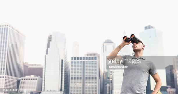 Looking forward man with binocular in NYC