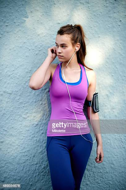 looking forward to a great run - only teenage girls stock pictures, royalty-free photos & images