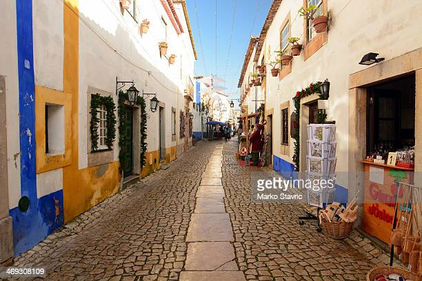 CONTENT] Looking north along a street in Obidos The street is decorated for Christmas and New Years celebrations Tourist merchandise can be seen for...
