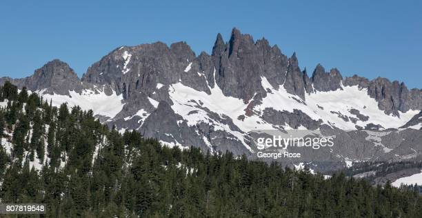 Looking north from the top of the Mammoth Mountain Ski Area takes in a view of the Minarets and the Ritter Range on June 29 in Mammoth Lakes...