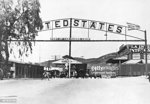 Looking north to the port of entry border crossing at San Ysidro in California Tijuana Mexico September 27 1927