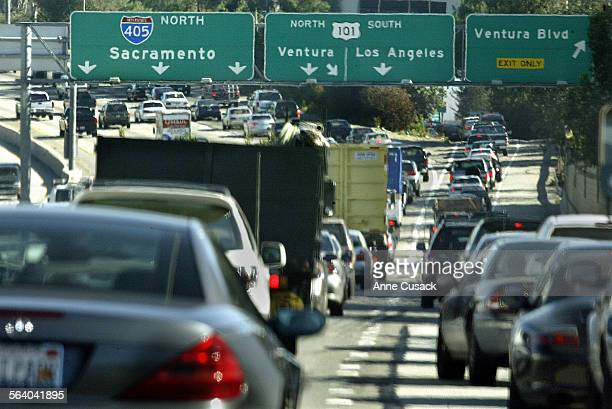 Looking northbound on the 405 at the 101 interchange during morning rush hourCaltrans will unveil plans today for a project designed to reduce...