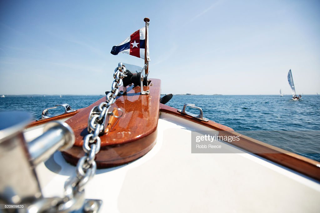 Looking off the bow of a boat near Boston Harbor, MA : Stock Photo