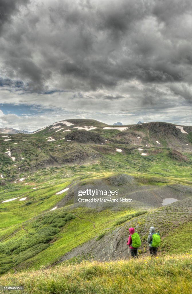 Looking Out at a Mountain Range and Storm : Stock Photo