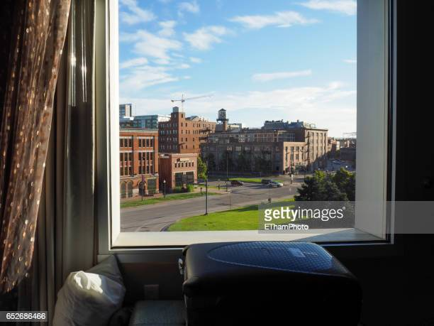 looking out of window on denver lower downtown district (lodo) - viewpoint stock pictures, royalty-free photos & images