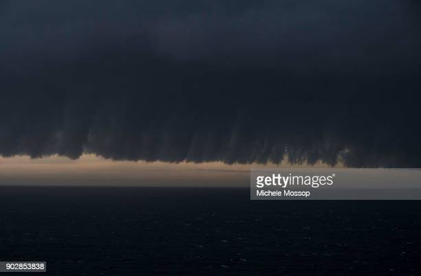 Looking out to sea from Waverley Cemetery in Sydney's east as a storm front sweeps up the NSW coast on January 9 2018 in Sydney Australia Heavy wind...