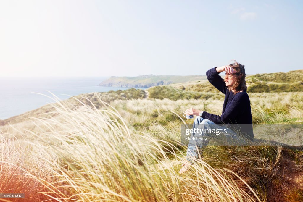 Looking Out To Sea To See The Surf Conditions Stock Photo