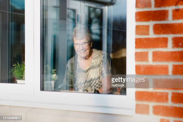 looking outside - senior women stock pictures, royalty-free photos & images