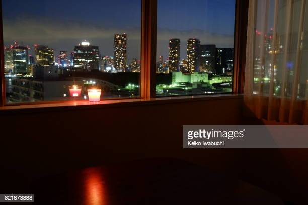 looking outside through window, Tokyo Japan