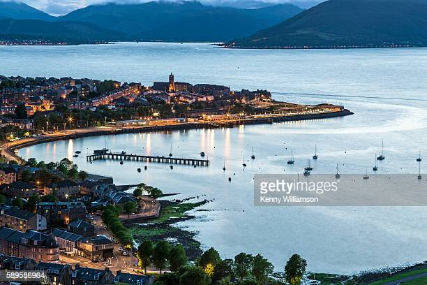 looking over a scottish seaside town at dusk - river clyde stock pictures, royalty-free photos & images