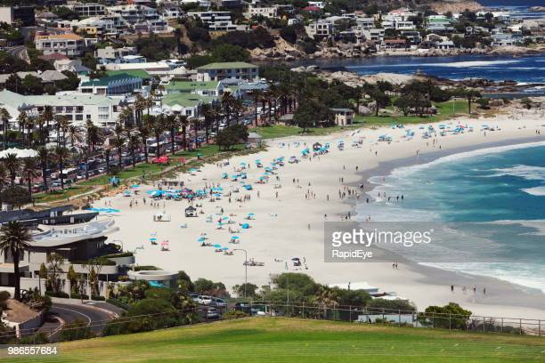 Looking over Camps Bay beach in summer sunshine