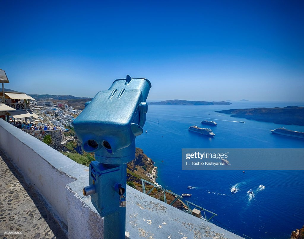 Looking over Fira Village in Santorini, Greece : Stock Photo