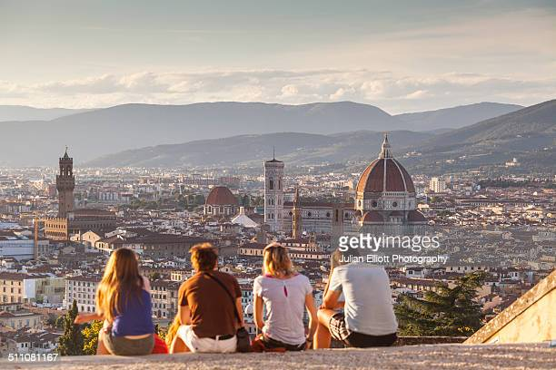 looking over florence from san miniato - フィレンツェ ストックフォトと画像