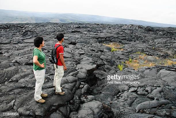 looking over the lava fields, big island, hawaii - ハワイ火山国立公園 ストックフォトと画像