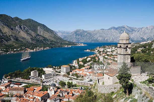 Looking over the Old Town, with sailing cruiseship Royal Clipper in Kotor Fjord.