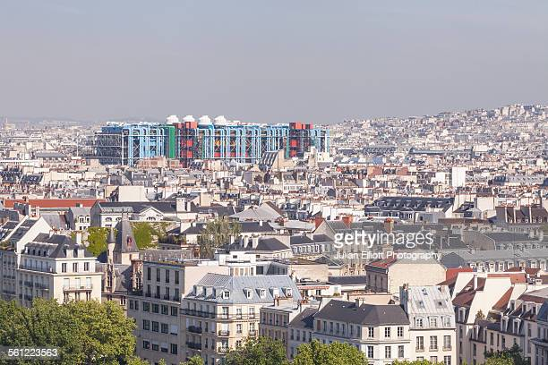 looking over the rooftops of paris - centre pompidou stock pictures, royalty-free photos & images
